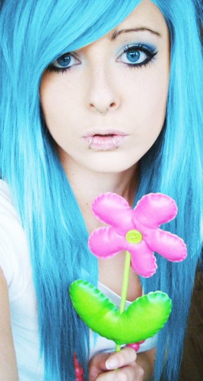 blue long emo scene hair style for girls site model bibi barbaric from germany pink flower eyes make up piercings