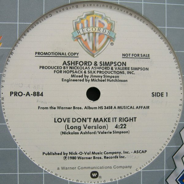 ASHFORD AND SIMPSON - Love Don't Make It Right