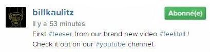 Instagram Bill kaulitz :  Premier ##teaser de notre nouveau clip