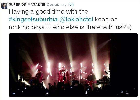 Twitter  SUPERIOR MAGAZINE : Nous passons un excellent moment avec les #kingsofsuburbia @tokiohotel