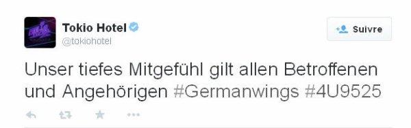 twitter officiel Tokio Hotel :  Nos plus sincères condoléances à toutes les victimes et leurs familles