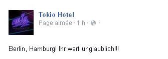 FacebooK Tokio Hotel : Berlin, Hamburg! vous avez été incroyables!!!