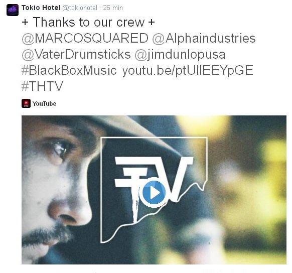 Twitter Tokio Hotel : + Merci à notre équipe +