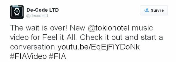Twitter De-Code LTD :  L'attente est finie! Nouveau clip pour @tokiohotel Feel It All