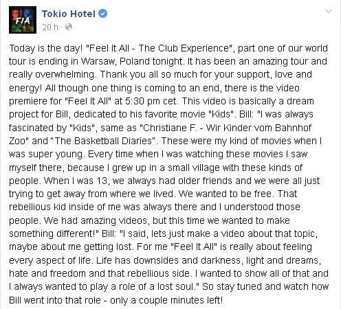 FACEBOOK Tokio Hotel  OFFICIEL : Aujourd'hui est le grand jour!
