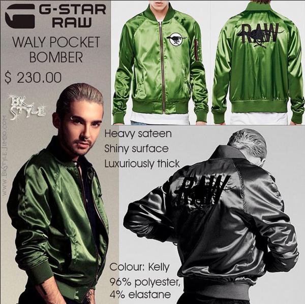 Bill Kaulitz Style || Green Waly Pocket Bomber Jacket by G-Star RAW [SUPERIOR Magazine 2015]