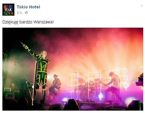 Facebook Tokio Hotel : Merci beaucoup Varsovie!