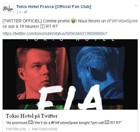 Info de Tokio Hotel France [Official Fan Club] : [TWITTER OFFICIEL] Comme promis ! Nous ferons un #FIAFollowSpree ce soir à 19 heures! RT RT