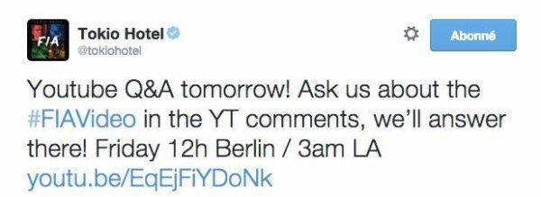 Twitter Tokio Hotel : Q&A sur YouTube demain!