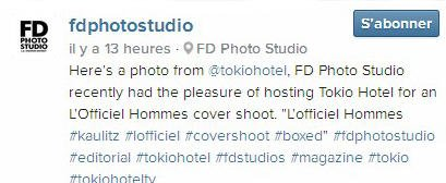 Instagram fdphotostudio : Voici une photo de @tokiohotel