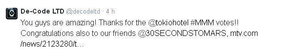 Twitter De-Code LTD : Vous êtes incroyables! Merci pour les votes pour @tokiohotel #MMM votes!!