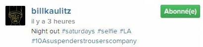 Instagram Bill Kaulitz : sortie de nuit #samedi #selfie #LA