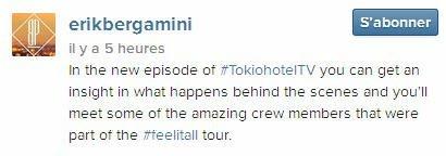 Instagram erikbergamini : Dans le nouvel épisode de #TokiohotelTV vous avez un aperçu de ce qui se passe en coulisses