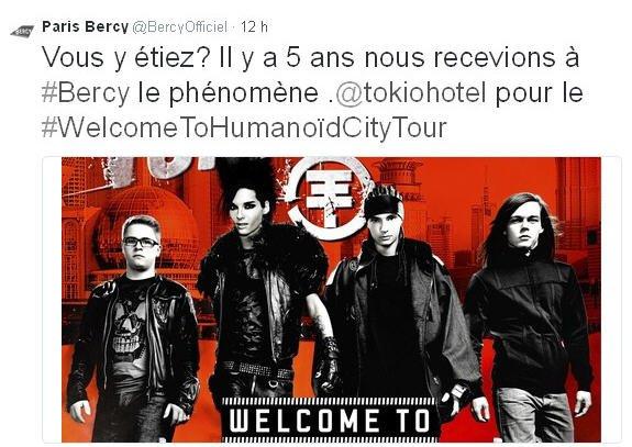 Twitter Paris Bercy :  Vous y étiez? Il y a 5 ans nous recevions à #Bercy le phénomène .@tokiohotel