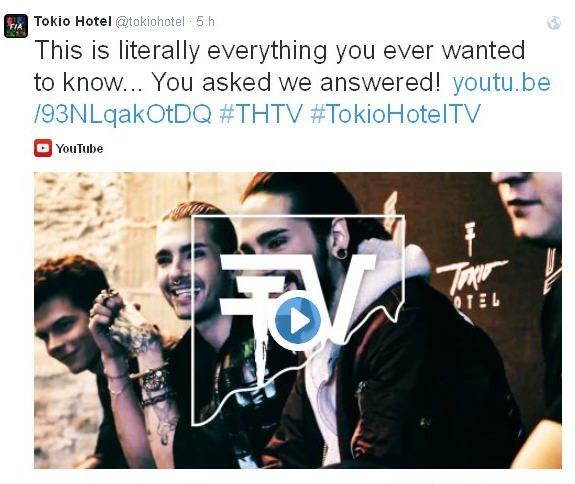 twitter Tokio Hotel : c'est littéralement ce que vous avez toujours voulu savoir... Vous nous avez demandé, nous avons répondu!