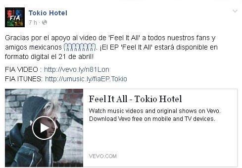 Facebook Tokio Hotel : Merci d'avoir soutenir la vidéo de 'Feel It All' à tous nos fans et amis mexicains.