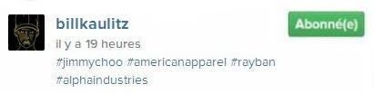Instagram Bill Kaulitz : #jimmychoo #americanapparel #rayban #alphaindustries