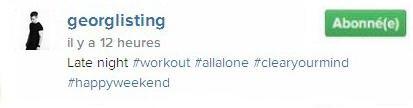 Instagram Georg Listing : Tard dans la nuit#exercice #tout seul#aérersonesprit #happyweekend