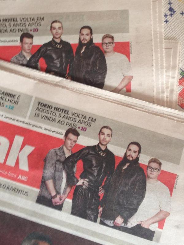 L'arrivée de Tokio Hotel en Août au Brésil dans les journaux