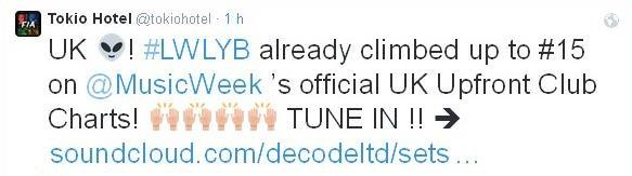 """twitter Tokio Hotel :Royaume Uni !  #LWLYB est déjà monté jusqu'à la #15e place du """"@MusicWeek 's official UK"""