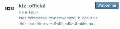 Instagram ktz_official : #ktz #ktzclassic #tshirtoversizeChurchPrint #ktzchurchforever @billkaulitz @tokiohotel