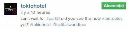Instagram Tokio Hotel : Nous sommes impatients d'être à la partie 2! Avez-vous vu les nouvelles