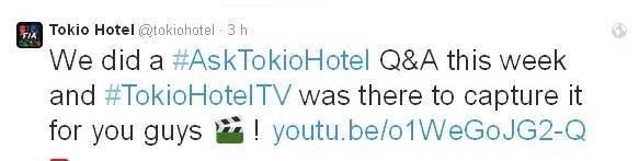 Twitter Tokio Hotel : Nous avons fait un #AskTokioHotel Q&A cette semaine et #TokioHotelTV était là pour filmer ça pour vous les gars