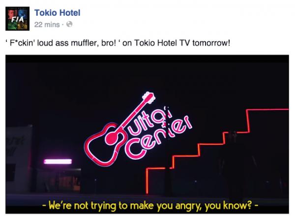 Facebook Tokio Hotel : « Plus de boucans avec ce putain de muffler, mec ! » demain dans le Tokio Hotel TV ! (traduction)