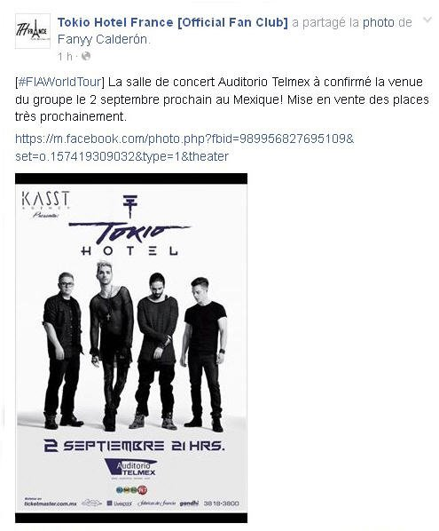 Info de Tokio Hotel France [Official Fan Club] :  La salle de concert Auditorio Telmex à confirmé la venue du groupe le 2 septembre prochain au Mexique!