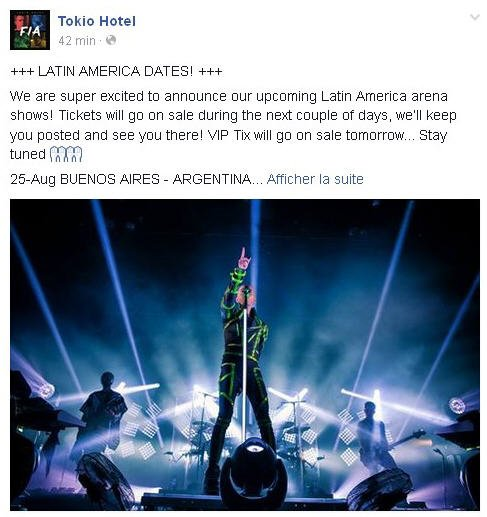 Facebook Officiel Tokio Hotel : +++ DATES D'AMERIQUE LATINE! +++