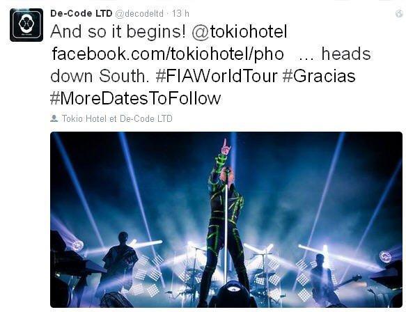 Twitter De-Code LTD : Et c'est donc parti! @tokiohotel facebook.com/tokiohotel/pho...Ca va jusqu'au Sud.