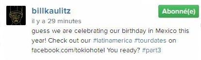 Instagram Bill Kaulitz : je crois que nous allons passer notre anniversaire à Mexico
