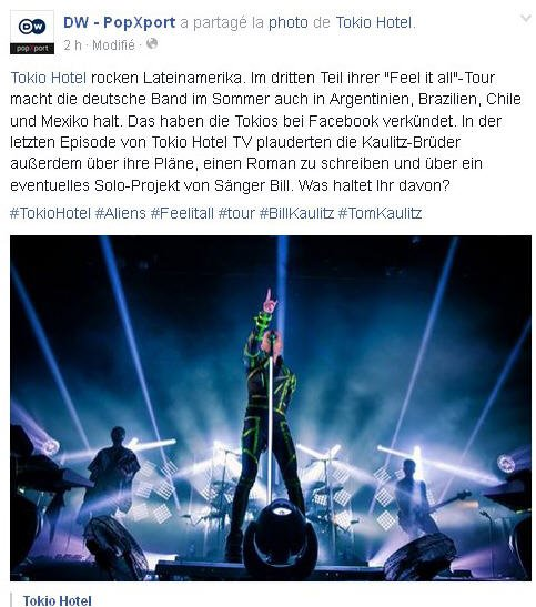 Facebook DW - PopXport  :Tokio Hotel rocke l'Amérique Latine