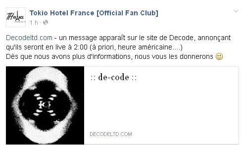 Info de Tokio Hotel France [Official Fan Club] : Decodeltd.com - un message apparaît sur le site de Decode, annonçant qu'ils seront en live à 2:00