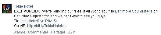 Facebook Tokio Hotel : BALTIMORE/DC!