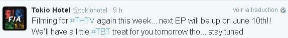 Twitter Tokio Hotel : Nous sommes en tournage pour #THTV cette semaine à nouveau...