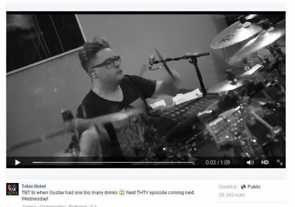 Facebook Tokio Hotel :  TBT quand Gustav avait un peu trop bu :) L'épisode suivant de THTV mercredi prochain!