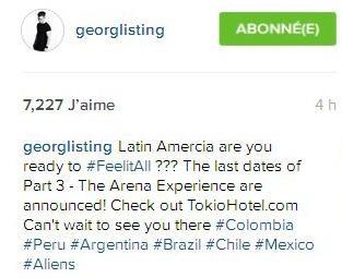 Instagram Georg Listing : Amérique Latine êtes vous prêts pour #FeelitAll????