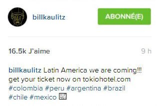 Instagram Bill Kaulitz :  L'Amérique Latine on arrive!!!