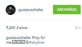 Instagram Gustav Schafer : Priez pour moi.😰#sautenparachute