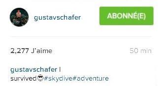 Instagram Gustav Schafer : survécu😎#sautenparachute#aventure