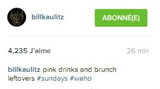 Instagram Bill Kaulitz :  Boissons roses et restes de brunch ‪#‎dimanche‬ ‪#‎westhollywood‬