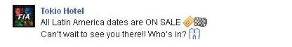 Facebook Tokio Hotel : Toutes les dates latino-américaines sont EN VENTE !