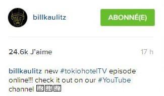 instagram Bill Kaulitz : le nouvel épisode de#tokiohotelTVest en ligne sur notre chaine#YouTube channel