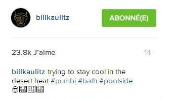 Instagram Bill Kaulitz : en essayant de rester au frais dans la chaleur du désert #pumbi#bain #piscinegonflable 😎