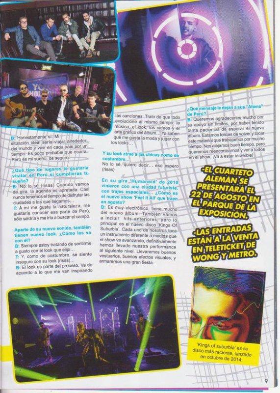"""Article de """"Zona"""" Joven n° 230/15 (Pérou) – Interview exclusive Tokio Hotel : « Les péruviens sont très intenses »"""