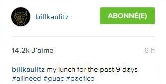 Instagram Bill Kaulitz : Mon déjeuner des 9 derniers jours #toutcedontj'aibesoin #guacamole #pacifique