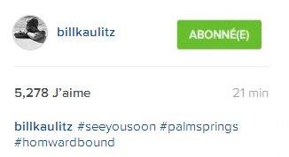 Instagram billkaulitz#àbientôt #palmsprings #voyagederetour