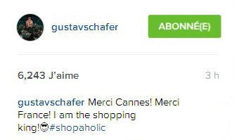 Instagram gustavschafer Merci Cannes! Merci France! Je suis le roi du shopping!😎#accrodushopping