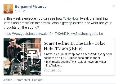 Facebook Bergamini Pictures : Dans l'épisode de cette semaine vous pouvez voir comment Tokio Hotel peaufine les derniers arrangements de leurs morceaux.
